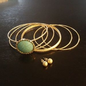 Design Hoop Dangling Bracelets & Earring Sets